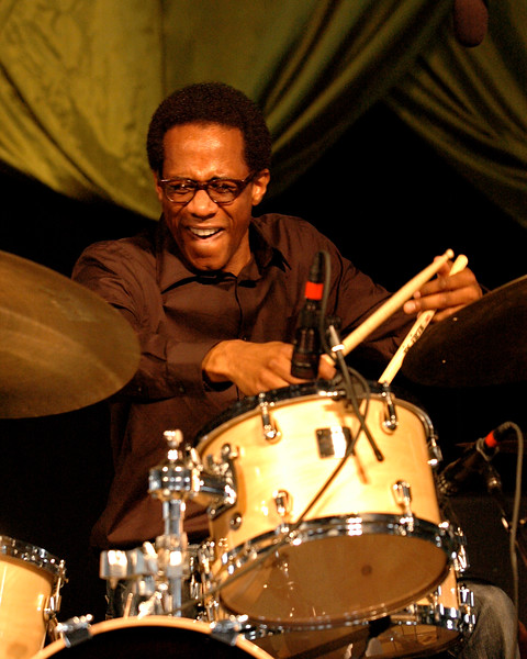 Brian Blade plays with Herbie Hancock in the Jazz Tent at Jazzfest 2006.