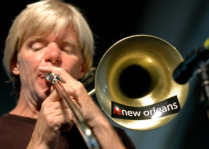 Craig Klein and his trombone performing at the New Orleans Jazz & Heritage Festival on May 7, 2006.