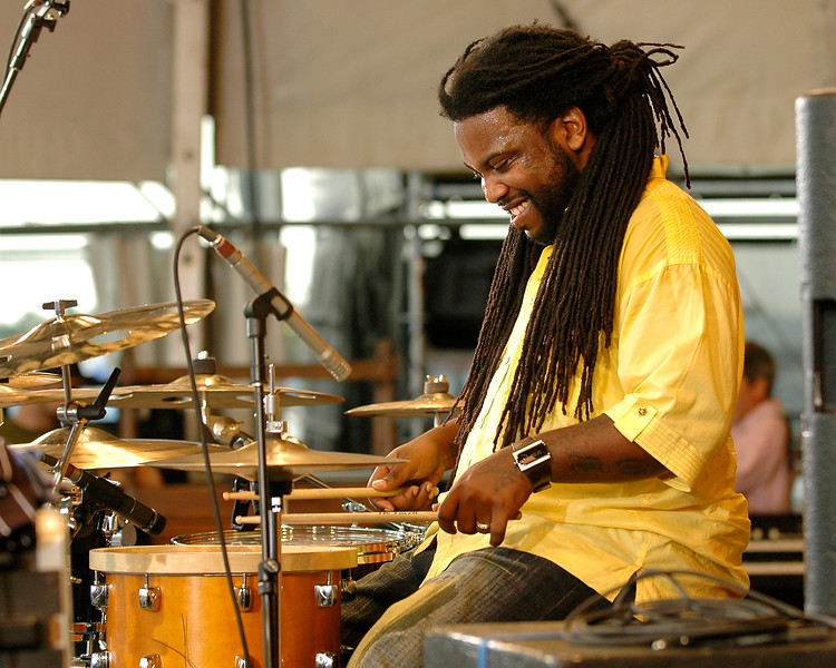 Eddie Christmas performs live on stage with Jon Cleary & the Absolute Monster Gentlemen at the New Orleans Jazz & Heritage Festival on April 26, 2008.