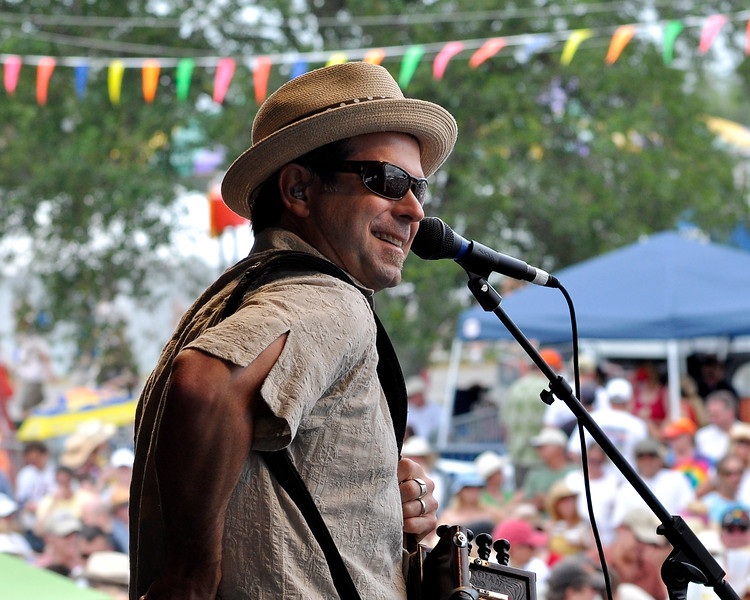 Steve Riley performing with The Mamou Playboys at the New Orleans Jazz & Heritage Festival on April 30, 2009.