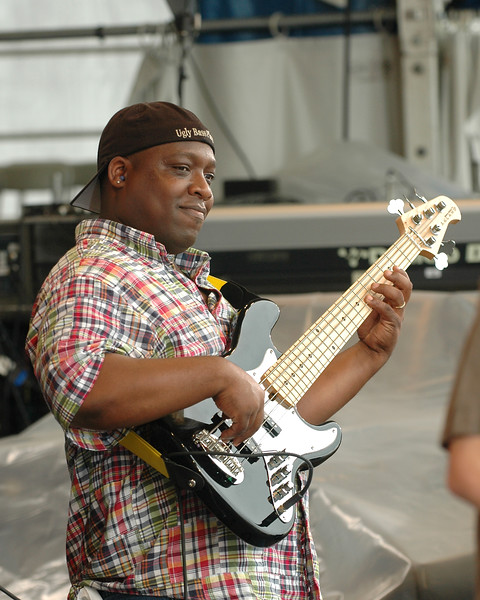 Marc Pero performs with Papa Grows Funk at the New Orleans Jazz & Heritage Festival on May 2, 2008.