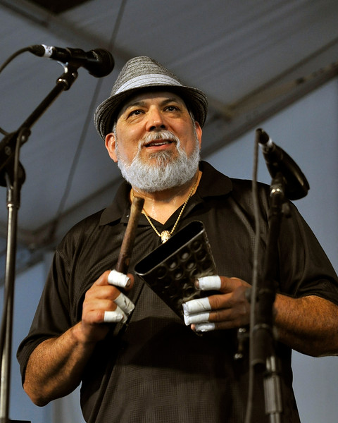 NEW ORLEANS, LA-APRIL 27: Poncho Sanchez performs at the New Orleans Jazz & Heritage Festival in New Orleans, LA on April 27, 2012. (Photo by Clayton Call/Redferns)
