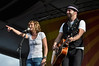 Jennifer Nettles and Kristian Bush performing with Sugarland at the New Orleans Jazz & Heritage Festival on May 1, 2009.