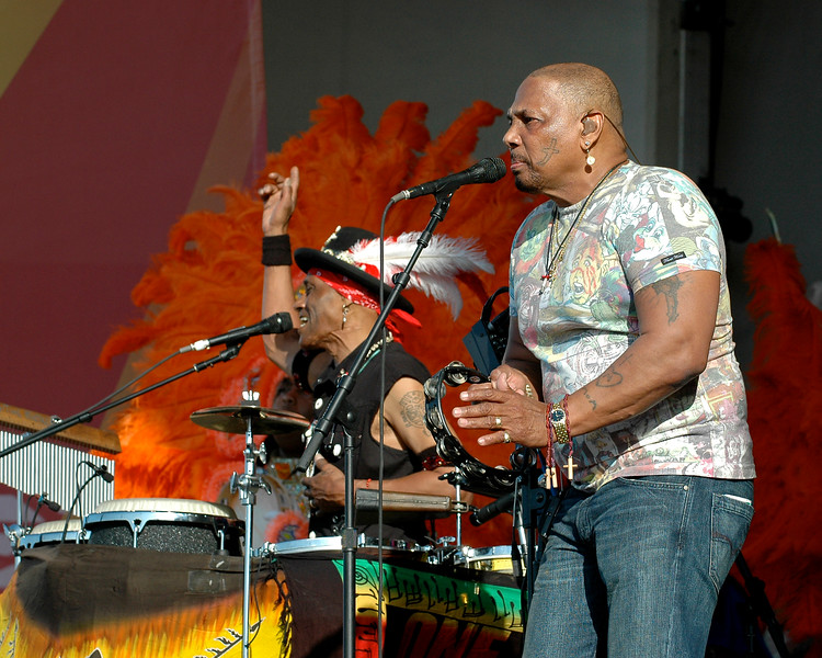 The Neville Brothers performing in New Orleans for the first time since Hurricane Katrina at the New Orleans Jazz & Heritage Festival on May 4, 2008.  Pictured, (L-R) Cyril Neville, Aaron Neville.