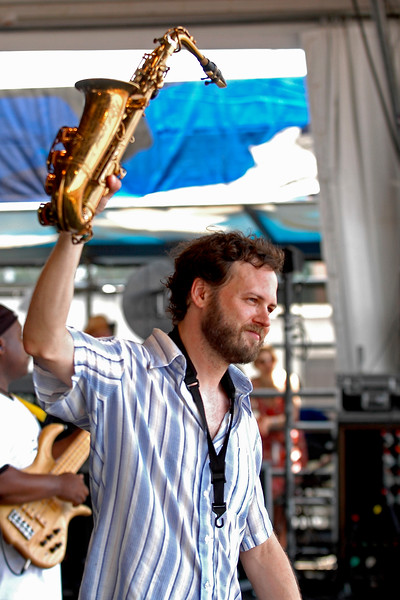 Jason Mingledorf performs with Papa Grows Funk at the New Orleans Jazz & Heritage Festival on May 6, 2007.