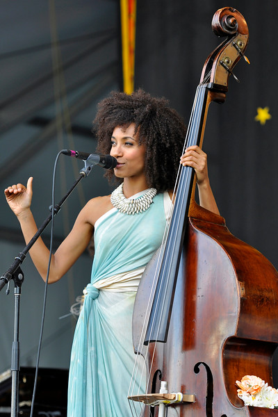 NEW ORLEANS, LA-May 3: Esperanza Spalding performs at the New Orleans Jazz & Heritage Festival in New Orleans, LA on May 3, 2012. (Photo by Clayton Call/Redferns)