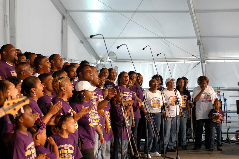 The Val & Love Alive Fellowship Choir performing live in the Gospel Tent at the New Orleans Jazz & Heritage Festival on May 4, 2008.