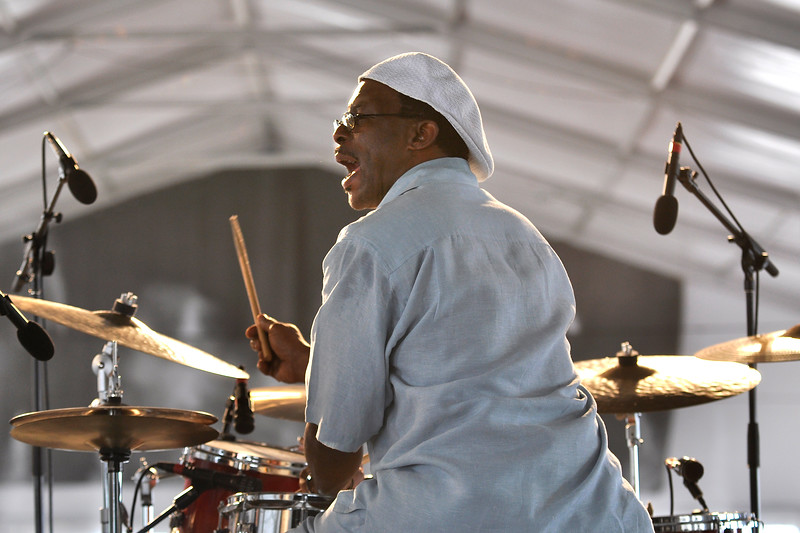 Herlin Riley performs with his band in the Jazz Tent at the New Orleans Jazz & Heritage Festival on April 26, 2009.