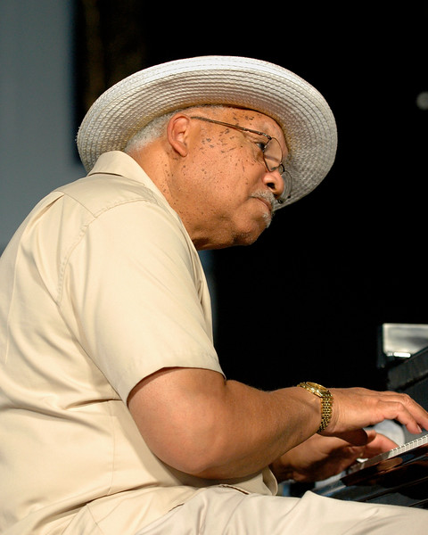 Ellis Marsalis performing with his quartet in the Jazz Tent at the New Orleans Jazz & Heritage Festival on April 25, 2008.