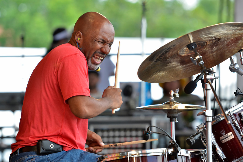"""NEW ORLEANS, LA-APRIL 28: Jeffrey """"Jellybean"""" Alexander performs with Jon Cleary & The Absolute Monster Gentlemen at the New Orleans Jazz & Heritage Festival in New Orleans, LA on April 28, 2012. (Photo by Clayton Call/Redferns)"""