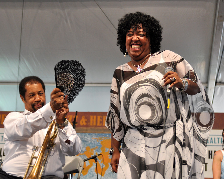 Teeedy Boutte« gets a breeze while performing with Bob French's Original Tuxedo Jazz Band at the New Orleans Jazz & Heritage Festival on May 3, 2009.