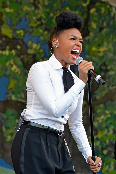 NEW ORLEANS, LA-APRIL 29: Janelle Monae performs at the New Orleans Jazz & Heritage Festival in New Orleans, LA on April 29, 2012. (Photo by Clayton Call/Redferns)