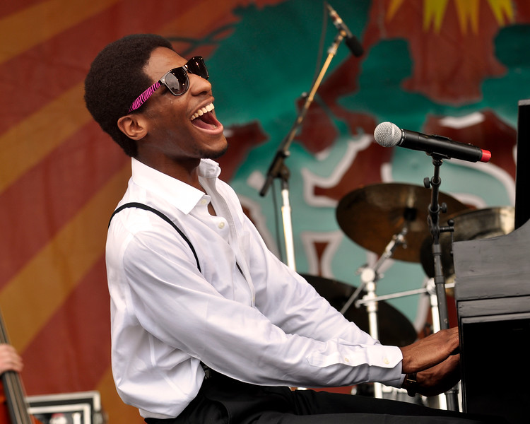 Jonathan Batiste performing at the New Orleans Jazz & Heritage Festival on May 3, 2009.