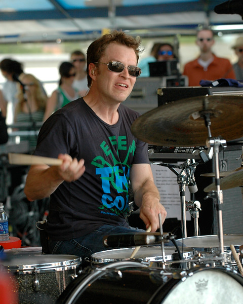 Stanton Moore performing on stage with Galactic at the New Orleans Jazz & Heritage Festival on May 4, 2008.