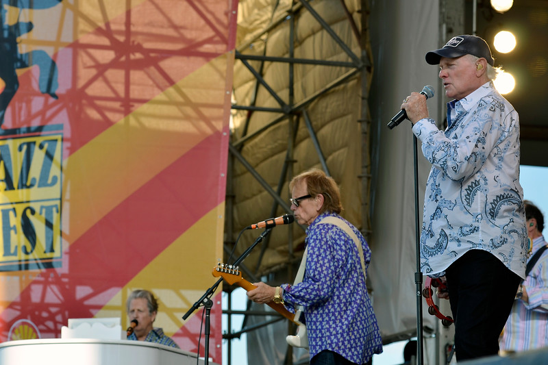 NEW ORLEANS, LA-APRIL 27: The Beach Boys perform at the New Orleans Jazz & Heritage Festival in New Orleans, LA on April 27, 2012. (L-R): Brian Wilson, Al Jardine, Mike Love (Photo by Clayton Call/Redferns)