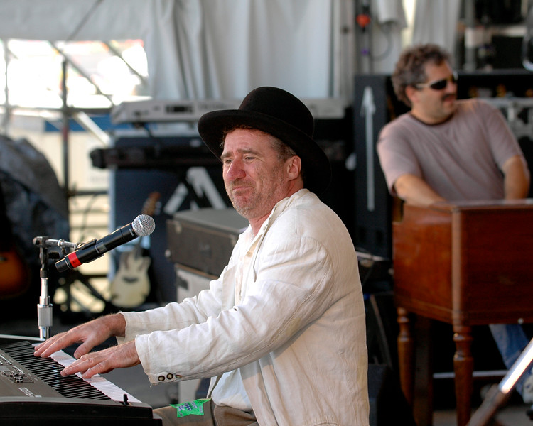 Jon Cleary performs with his band, The Absolute Monster Gentlemen, including organist David Torkanowsky, at the New Orleans Jazz & Heritage Festival on April 28, 2007.