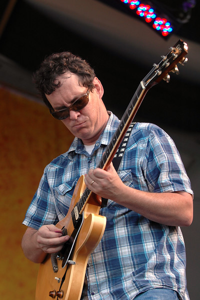 Jeff Raines performs with Galactic at the New Orleans Jazz & Heritage Festival on May 5, 2007.