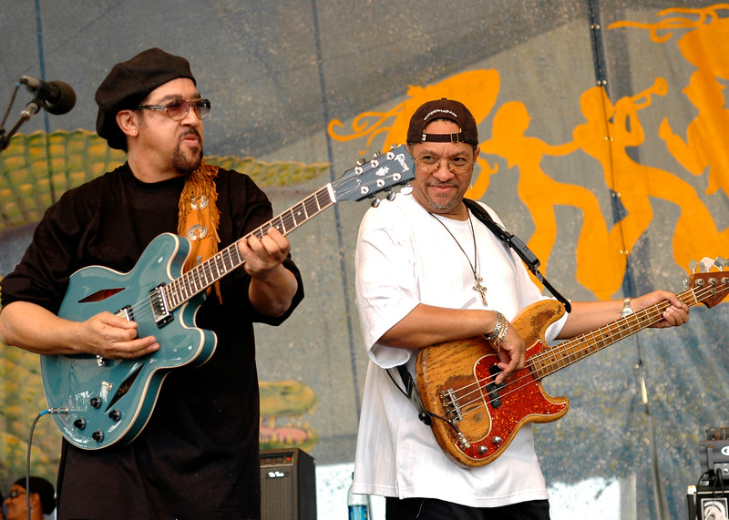Leo Nocentelli & George Porter perform with the original Meters perfoming at the New Orleans Jazz & Heritage Festival on May 7, 2006.