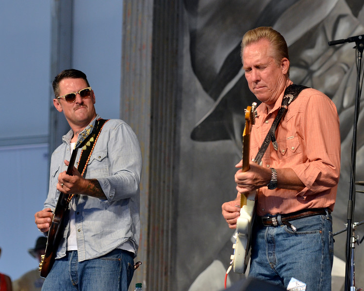 NEW ORLEANS, LA-APRIL 27: Eric Lindell performs  with special guest Anson Funderberg at the New Orleans Jazz & Heritage Festival in New Orleans, LA on April 27, 2012. (L-R): Eric Lindell, Anson Funderberg (Photo by Clayton Call/Redferns)