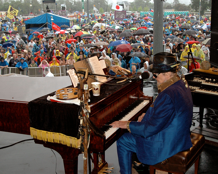 NEW ORLEANS, LA-APRIL 23: Dr. John performs for rain-soaked fans at the New Orleans Jazz & Heritage Festival on April 23, 2010. (Photo by Clayton Call/Redferns)