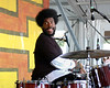 """Ahmir """"?uestlove"""" Thompson performing live on stage with The Roots at the New Orleans Jazz & Heritage Festival on May 3, 2008."""