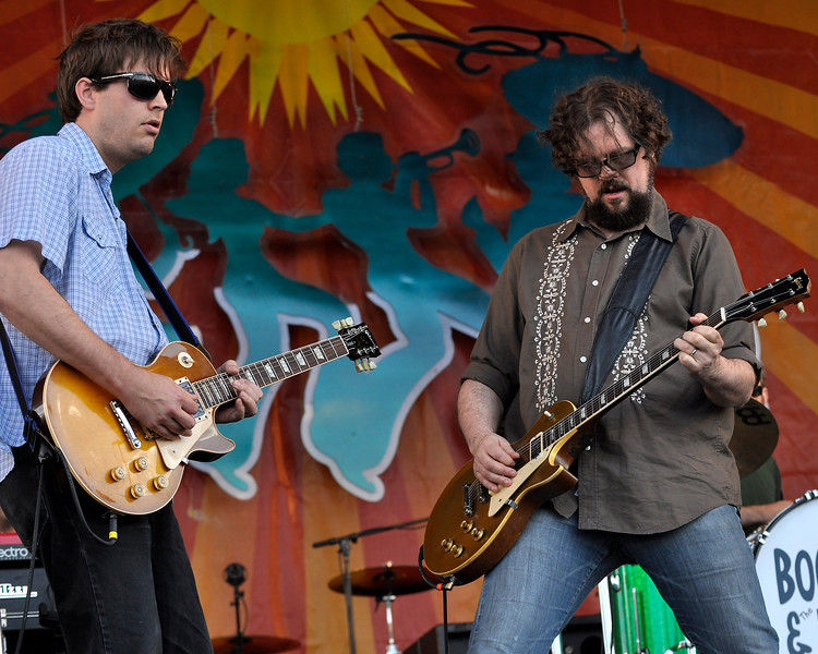 John Neff and Patterson Hood performing live with Drive-By Truckers at the New Orleans Jazz & Heritage Festival on April 25, 2009.
