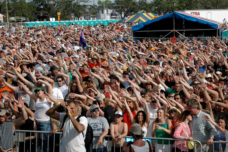 The crowd gets down with Cowboy Mouth on the Southern Comfort Blues Stage at Jazzfest 2006.
