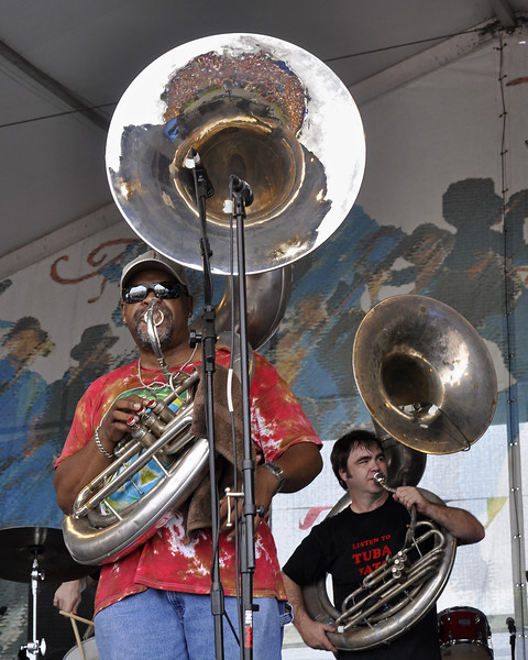 NEW ORLEANS, LA-APRIL 24: (L-R): Kirk Joseph and Matt Perrine perform with Midnight Disturbers on the Jazz & Heritage Stage at the New Orleans Jazz & Heritage Festival on April 24, 2010. (Photo by Clayton Call/Redferns)