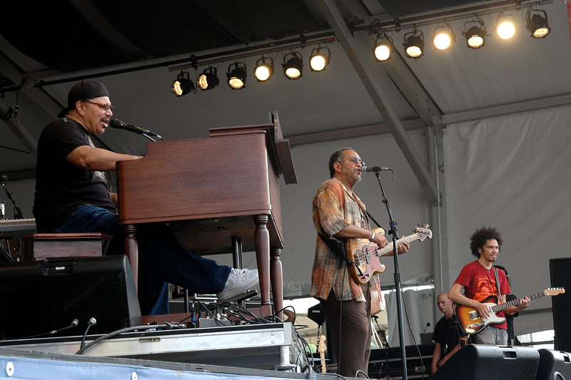 NEW ORLEANS, LA-APRIL 24: The Funky Meters perform at the New Orleans Jazz & Heritage Festival on April 24, 2010. (L-R): Art Neville, George Porter, Jr., and Ian Neville. (Photo by Clayton Call/Redferns)
