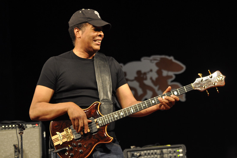 NEW ORLEANS, LA-APRIL 30: Stanley Clarke performs in the Jazz Tent at the New Orleans Jazz & Heritage Festival on April 30, 2010. (Photo by Clayton Call/Redferns)