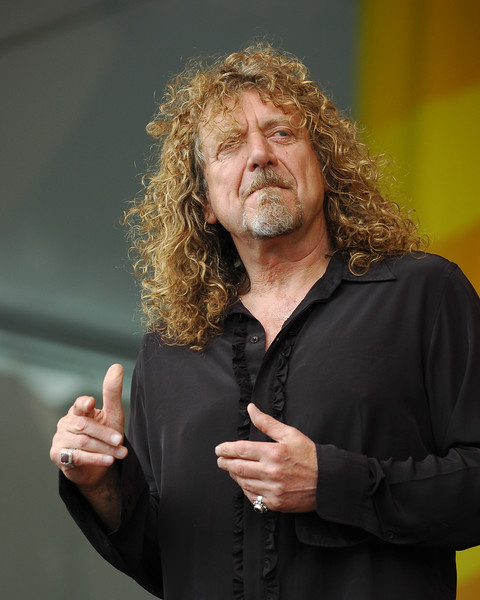 Robert Plant performs with Alison Krauss at the New Orleans Jazz & Heritage Festival on April 25, 2008.