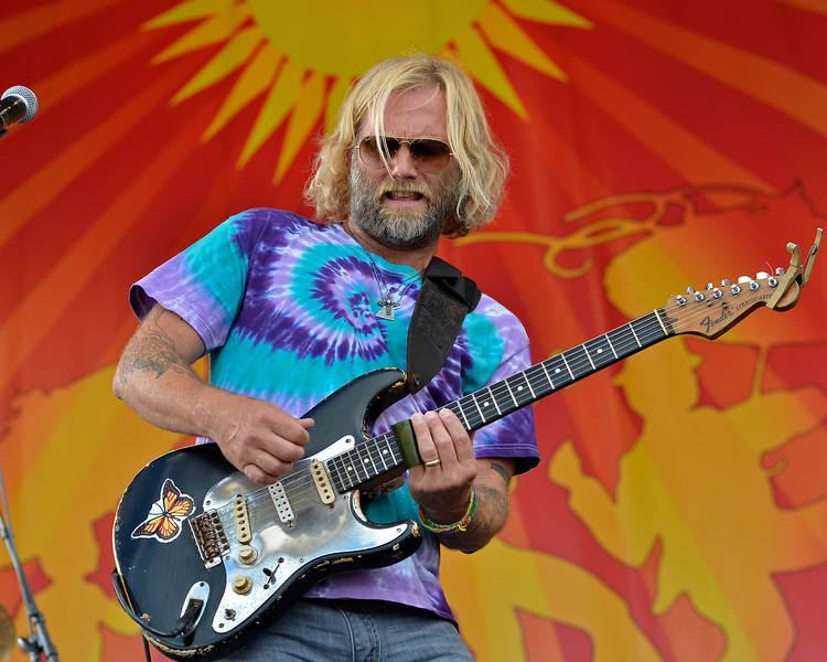 NEW ORLEANS, LA-April 28: Anders Osborne performs with Voice of the Wetlands All-Stars at the New Orleans Jazz & Heritage Festival in New Orleans, LA on April 28, 2012. (Photo by Clayton Call/Redferns)