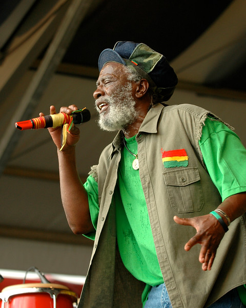 Burning Spear (Winston Rodney) performs at the New Orleans Jazz & Heritage Festival on April 25, 2008.