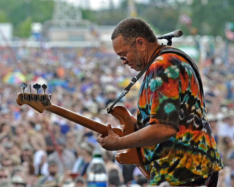NEW ORLEANS, LA-May 6: George Porter, Jr. performs with the Funky Meters at the New Orleans Jazz & Heritage Festival in New Orleans, LA on May 6, 2012. (Photo by Clayton Call/Redferns)