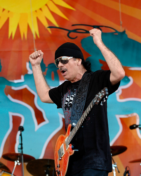 Carlos Santana performing at the New Orleans Jazz & Heritage Festival on May 4, 2008.