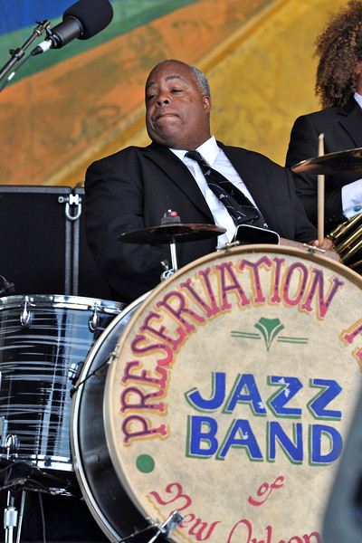 NEW ORLEANS, LA-May 6: Joseph Lastie, Jr. performs as part of the Preservation Hall 50th Anniversary at the New Orleans Jazz & Heritage Festival in New Orleans, LA on May 6, 2012. (Photo by Clayton Call/Redferns)