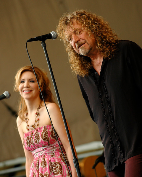 Robert Plant and Alison Krauss performing at the New Orleans Jazz Festival on April 25, 2008.