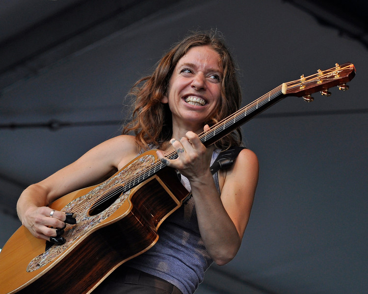 NEW ORLEANS, LA-May 3: Ani DiFranco performs at the New Orleans Jazz & Heritage Festival in New Orleans, LA on May 3, 2012. (Photo by Clayton Call/Redferns)