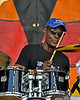 NEW ORLEANS, LA-APRIL 27: Adebiyi Raimi performs with Sean Kuti at the New Orleans Jazz & Heritage Festival in New Orleans, LA on April 27, 2012. (Photo by Clayton Call/Redferns)