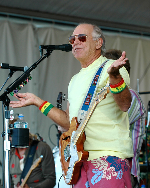 Jimmy Buffett performing live on stage at the New Orleans Jazz & Heritage Festival on May 3, 2008.
