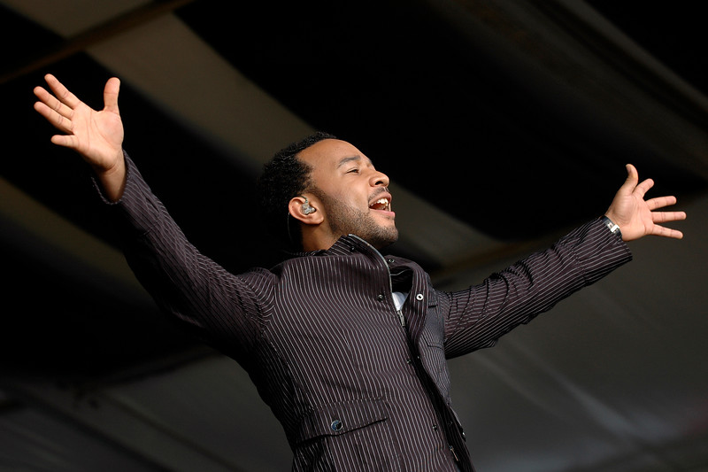 John Legend performs at the New Orleans Jazz & Heritage Festival on May 5, 2007.