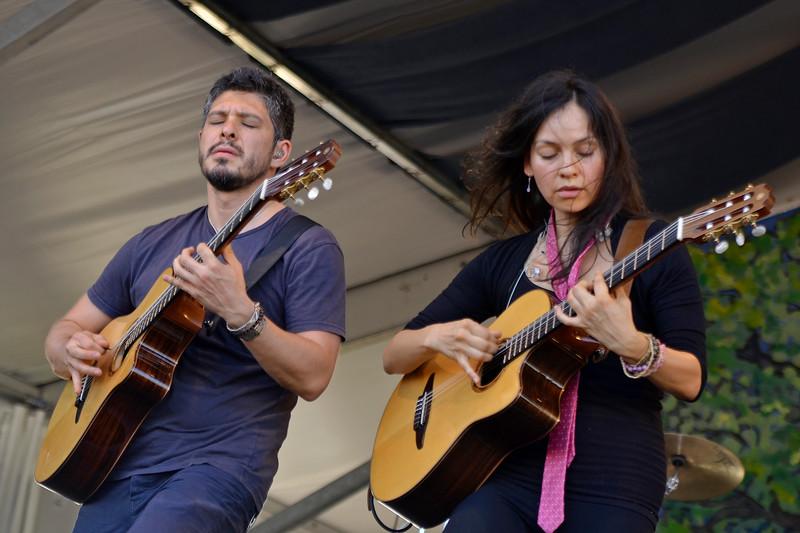 NEW ORLEANS, LA-MAY 4: Rodrigo y Gabriela and C.U.B.A. perform at the New Orleans Jazz & Heritage Festival in New Orleans, LA on May 4, 2012. (L-R): Rodrigo Sanchez, Gabriela Quintero (Photo by Clayton Call/Redferns)