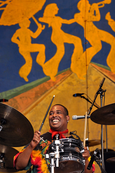 NEW ORLEANS, LA-May 6: Russell Batiste performs with the Funky Meters at the New Orleans Jazz & Heritage Festival in New Orleans, LA on May 6, 2012. (Photo by Clayton Call/Redferns)