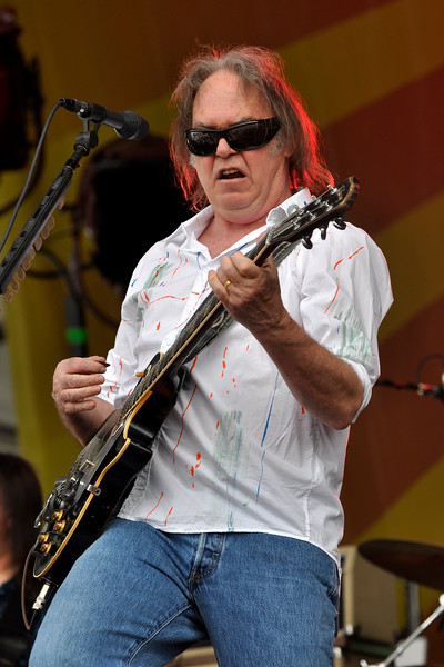 Neil Young performing at the New Orleans Jazz & Heritage Festival on May 3, 2009.