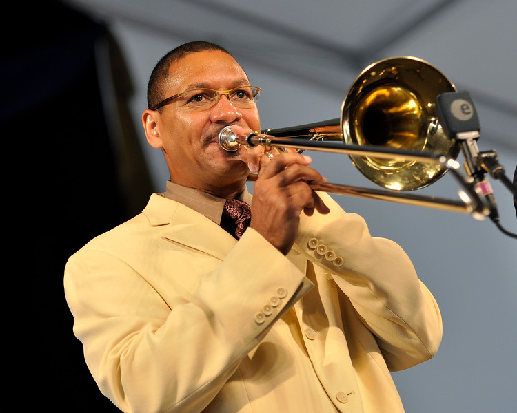 Delfeayo Marsalis performing live at the New Orleans Jazz & Heritage Festival on April 30, 2009.