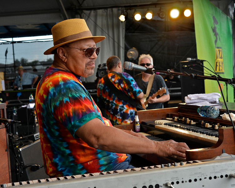 NEW ORLEANS, LA-May 6: Art Neville performs with the Funky Meters at the New Orleans Jazz & Heritage Festival in New Orleans, LA on May 6, 2012. (L-R): Art Neville, George Porter, Jr., Brian Stoltz