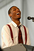Jonathan Batiste performing live on stage at the New Orleans Jazz & Heritage Festival on May 4, 2008.