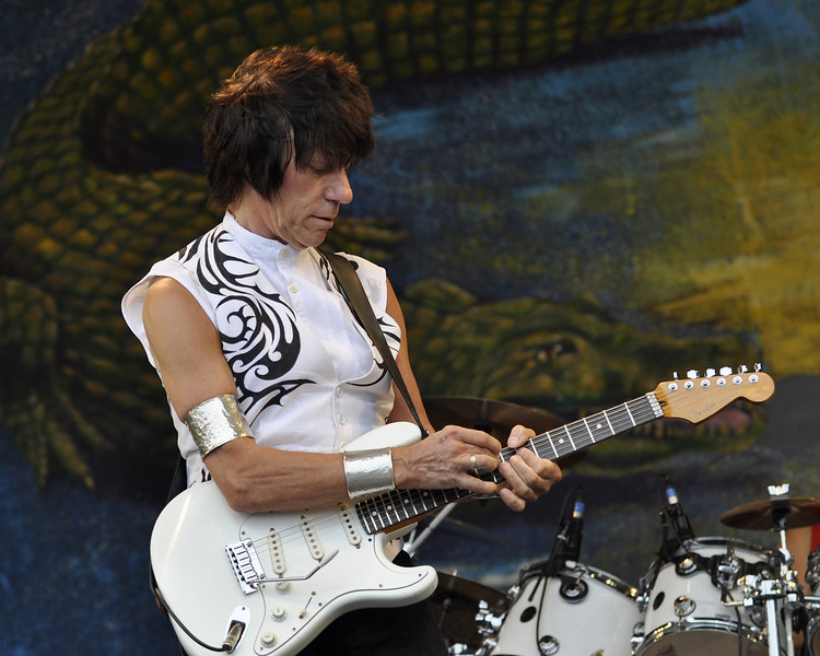 NEW ORLEANS, LA-MAY 1: Jeff Beck performs on the Gentilly Stage at the New Orleans Jazz & Heritage Festival on May 1, 2010. (Photo by Clayton Call/Redferns)