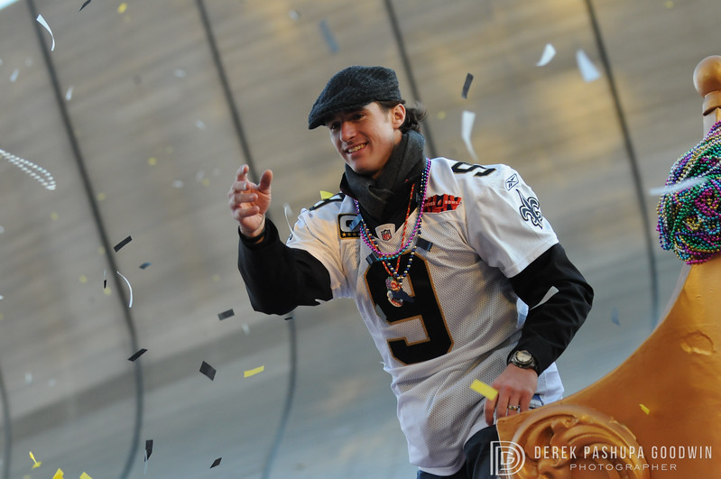 Drew Brees in New Orleans Saints Victory Parade 2010