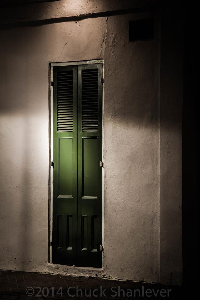 Night Street Green Door